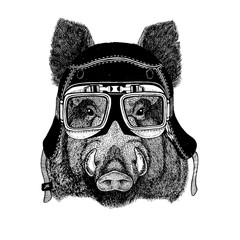 Vintage images of Hog for t-shirt design for motorcycle, bike, motorbike, scooter club, aero club
