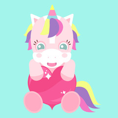 A cute unicorn with a pink heart. Rainbow banner. Children's character. St. Valentine's Day