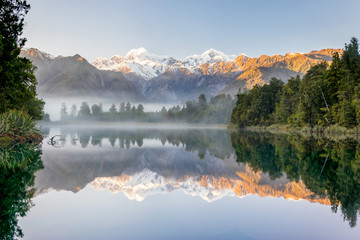 Foto op Canvas Reflectie Southern alps with Mount Cook and Mt. Tasman reflected in Lake Mathesson, New Zealand