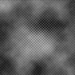 Fog or smoke isolated transparent special effect on dark checkered background misty backdrop vector illustration