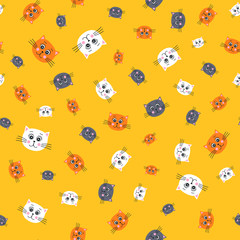 Cute cats. Vector seamless pattern with hand drawn cats faces. Childish background for your design. In flat style. White, orange and grey kitten heads on yellow background.