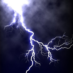 Isolated realistic lightning in the dark blue sky,tunderstorm element vector illustration