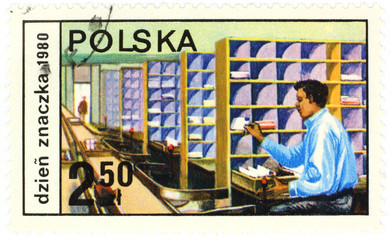 Post office - old polish postage stamp.