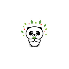 Smiling vector logo. Illustration of animal. Chinese bear with bamboo logotype. Cute picture