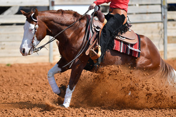 A side view of western rider sliding the horse in the dirt
