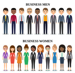 Vector characters businessmen and businesswomen in flat design. Icons business people. Cartoon males, females isolated on white background.