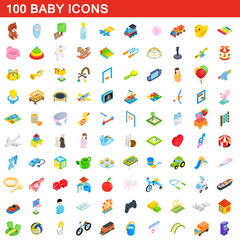 100 baby icons set, isometric 3d style