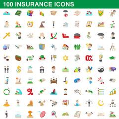 100 insurance icons set, cartoon style