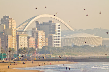 Durban beach front and pier at sunrise