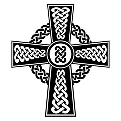 Celtic style Cross with eternity knots patterns in white and black with stroke elements and surrounding rounded knot element  inspired by Irish St Patrick's Day, and Irish and Scottish carving art