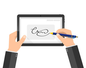 Modern handwritten digital signature on tablet. Vector illustration
