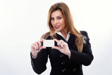 Businesswoman with her card