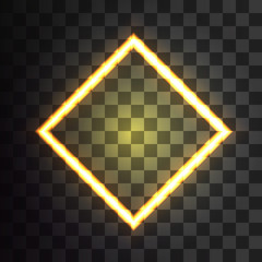 neon banner rhombus on a transparent background