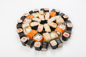 Set of sushi, maki and rolls isolated on white
