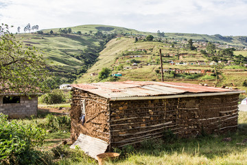 Foto auf Leinwand Olivgrun South African rural township houses - landscape 3