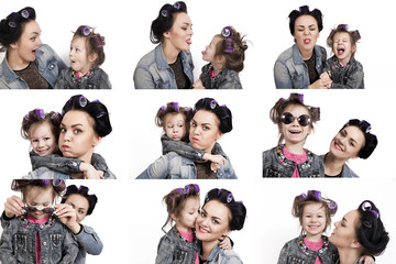 Collection of photos little girl and her mother in hair curlers
