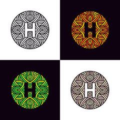 Set of letter H logo ornaments circle icons company symbol.