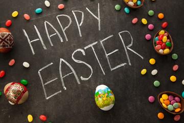 Easter congratulation written by chalk.