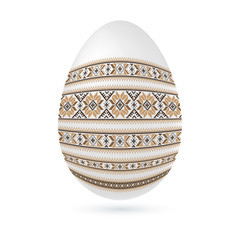Easter ethnic ornamental egg with cross stitch pattern. Isolated on white background