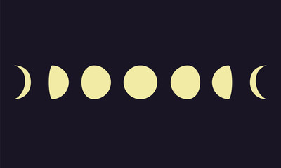 Moon phases on blue background
