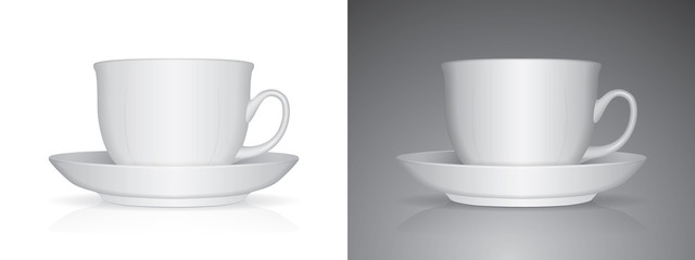 White cup Ready for your design picture Mock up Vector EPS10. Easy to change colors