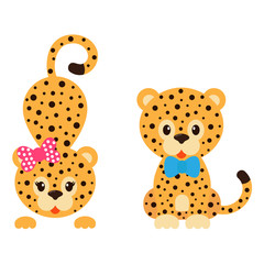cartoon leopard with bow and tie