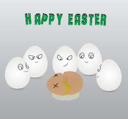 White eggs with cheerful a face on a grey background killed a brown egg. Vector illustration