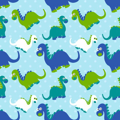 Cute dinosaur seamless pattern. Adorable cartoon dinosaurs background. Colorful kids pattern for girls and boys. Vector  texture in childish style for fabric, wallpapers, cards and designs.