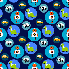 Seamless  toys pattern for kids. Cartoon toy background with dragon, robot, car and panda bear.