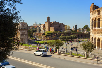 coliseum square view in the city of rome