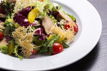 fresh vegetable salad with chicken