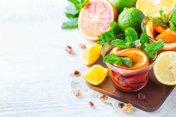 Citrus fruit summer fresh lemonade, infused water detox drink cocktail