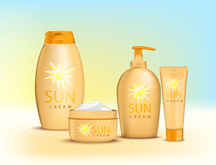 Sun Cream Containers. Vector Set of Protection Sun Care Cosmetics packaging. Suntan Lotion, bottle of Oil and Sunscreen Cream.