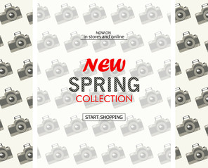 New spring collection sale banner. Background with cameras.