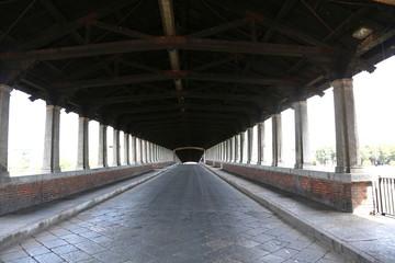 wooden bridge over the TICINO River in Pavia