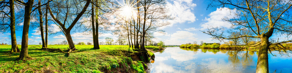 Wall Mural - Landschaft im Frühling mit Bäumen und Wiesen am Fluss