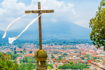 View on Antigua and Volcano de Aguaby Cerro de la Cruz in Guatemala