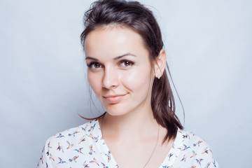 Young woman beauty portrait. Natural soft make up.