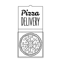 Pizza Box Pizza Delivery. 24 Hours. Label Pizzeria. Design Elements Vector