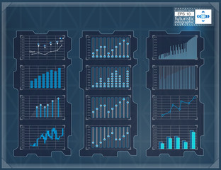 HUD background. Infographic elements graphic set. Digital data, business abstract background set. Infographic elements.