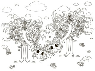 Flowers ostriches, coloring page anti-stress vector illustration