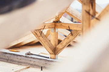 Details of construction site, close up of timber structure and roof system
