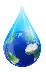 Water Drop World, European and African Globe in a Water Droplet - Earth in water drop, Elements of this image furnished by NASAfurnished by NASA