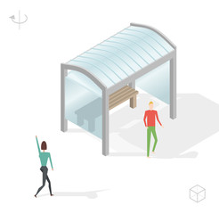 Isometric High Quality City Element with 45 Degrees Shadows on White Background . Bus Stop