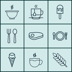Set Of 9 Food Icons. Includes Wheat, Hot Drink, Eating House And Other Symbols. Beautiful Design Elements.