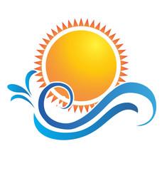 Sun and waves logo icon vector