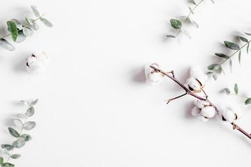 Poster de jardin Fleur Trendy design with eucalyptus pattern on white background top view mock up