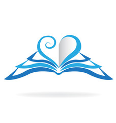 Book blue love heart logo