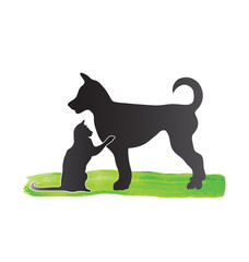 Cat and dog pets silhouettes logo