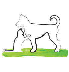 Cat and dog outline logo